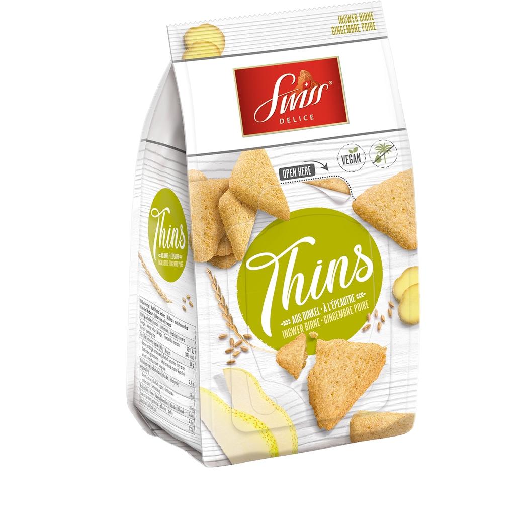 Swiss Delice «Thins» Ingwer Birne - 100g