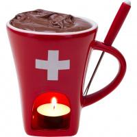 Schokoladenfondue-Tasse rot mit CH-Kreuz